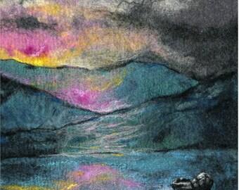 Original Felt Art, Silent And Still, Connemara, Ireland, fibre art, paonting with wool, wool painting, textile art, felt landscape art