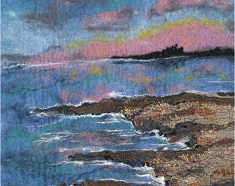 Original Felt Art, Blue For You, Bamburgh Castle view, Northumberland, seaview, Holy Island, fibre art, wool painting, painting with wool