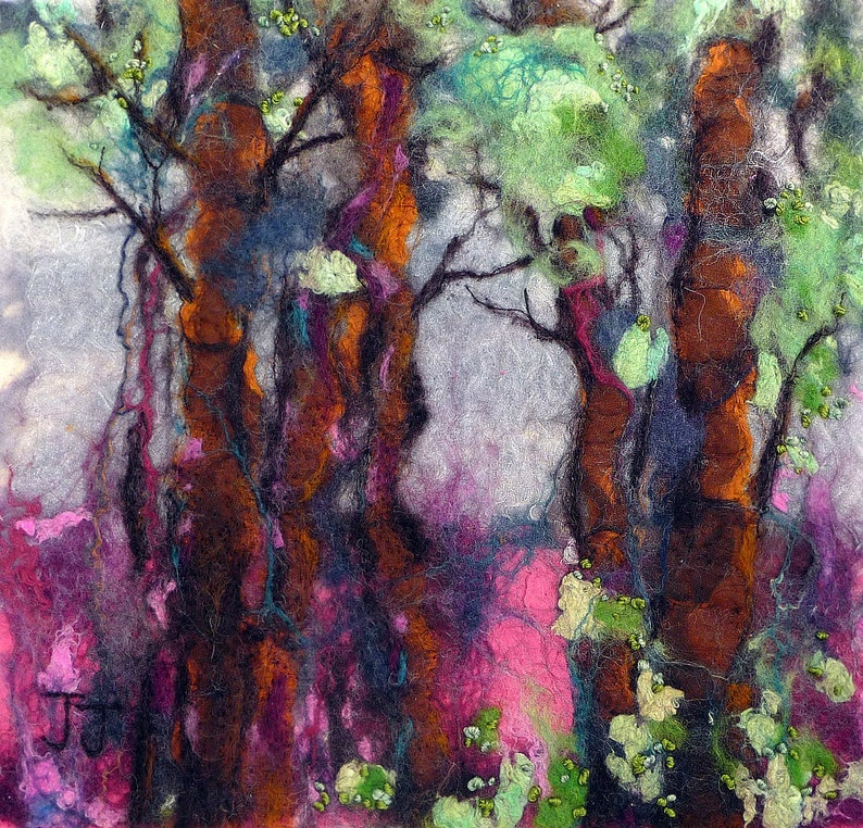 Forest View  midi size original wool painting by fibre image 0