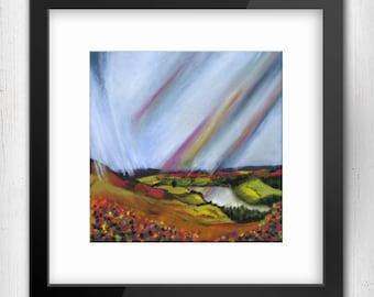 Art Print,When It Rains - Look For Rainbows, Masham view, North Yorshire Limited Edition Art Print, Giclee Art Print, Square Art Print
