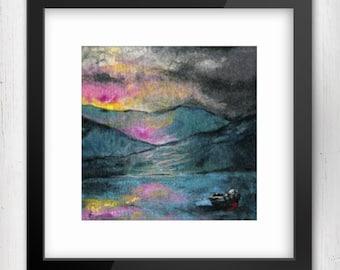 Art Print, Silent And Still, Connemara, Ireland, Limited Edition Felt Art Print, Fine Art Giclee Print, square print