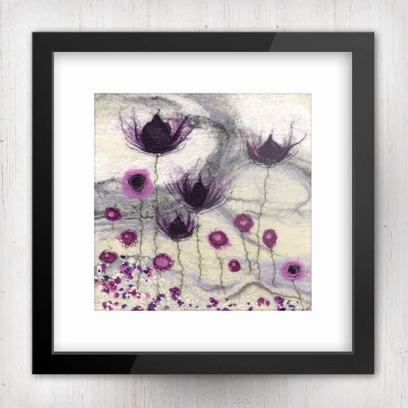Abstract Purple Flowers No. 4 Abstract Art Limited Edition image 0