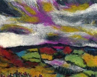 Original Felt Art, Autumn Light, Yorkshire landscape, felt painting, wool painting, felt landscape, textile art, fibre
