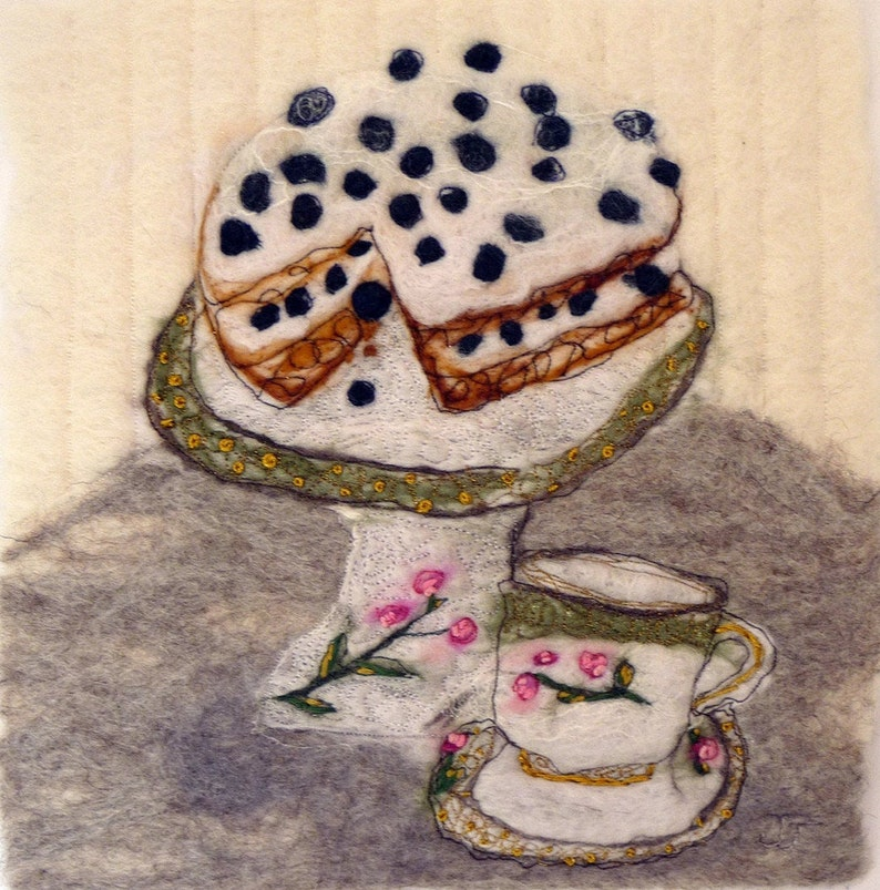 Tea and Cake original wool painting by fibre artist Janine image 0