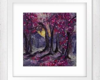"Art Print, Woodland at Dusk, 7""x7"", Wall Art, Limited Edition, Forest scene, Woodland landscape, Home Decor, Giclee art print"
