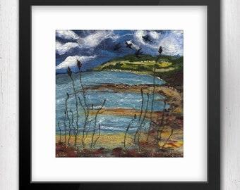 "Art Print, Swallows in Flight 10""x10"", Culzean Castle View, Scotland, Limited Edition Art Print, Fine Art Giclee Print, square art print"