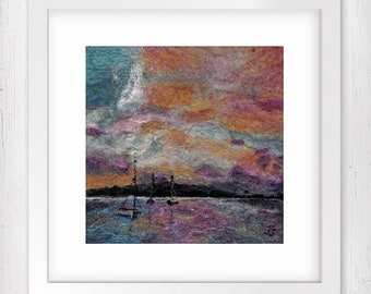 """Art Print, Harbour Sunset 7""""x7"""", Wall Art, Boats in a harbour, Sunset seascape, Home Decor, Limited Edition Giclee print"""