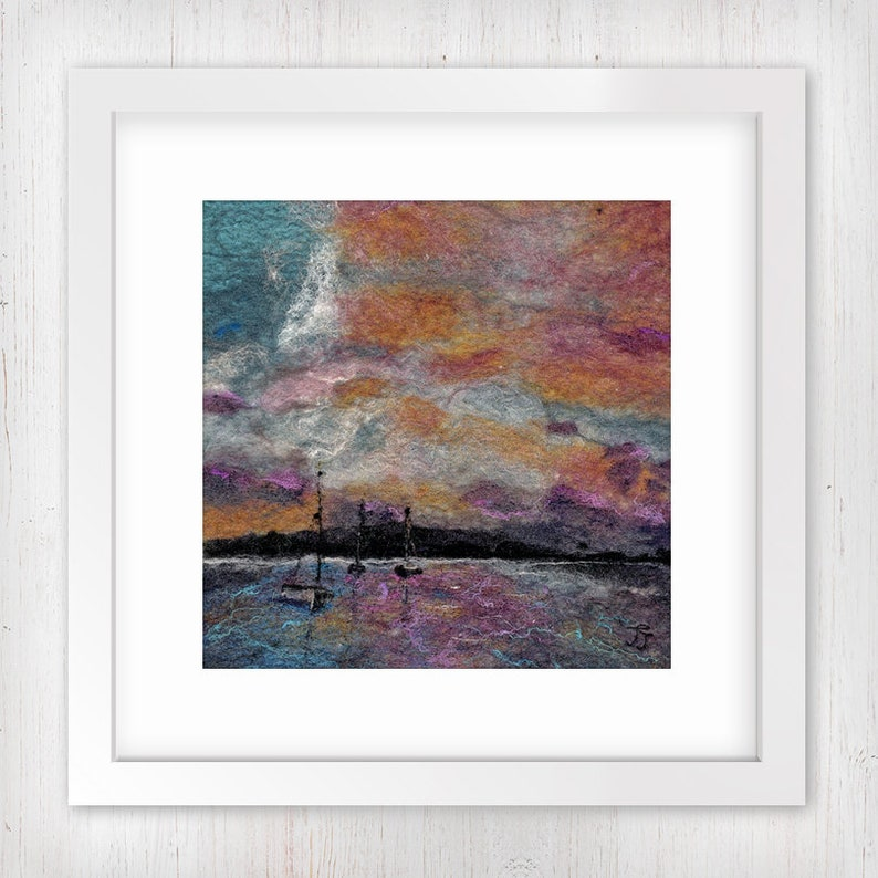Harbour Sunset  Midi  Limited Edition Art Print Boats in a image 0