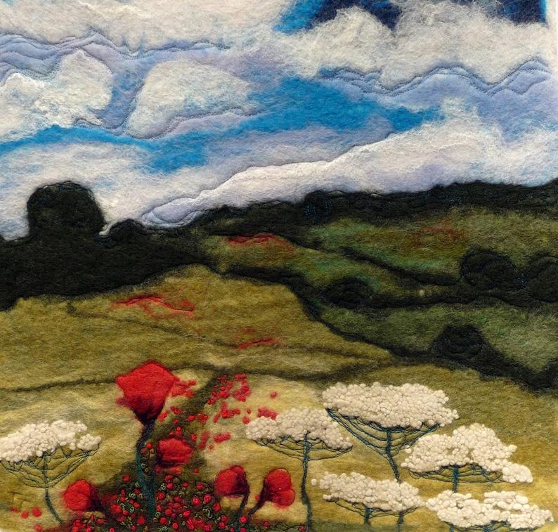 Poppy Field poppy landscape original wool painting fibre image 0