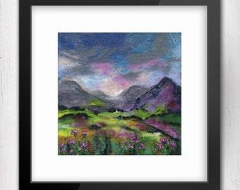 Art Print, After The Rain, Connemara, Ireland, Limited Edition Felt Art Print, Fine Art Giclee Print, square print