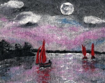 Original Felt Art, Red Sails At Dusk, Kinvara, Ireland, harbour art, boat art, painting with wool, wool painting, fibre art, textiles art