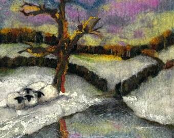 Original Felt Art, The Huddle, Yorkshire landscape, Sheep art, felt painting, wool painting, felt landscape, textile art, fibre