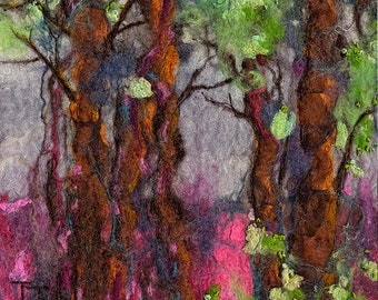 Original Felt Art, The Gathering, wool painting, felt landscape, fibre art, Textile Art, Handmade, Felt Painting, colourful art, trees