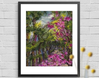 """Art Print, Parlington Forest View, Limited Edition, Fine Art Giclee Print, Print size 10""""x12"""", Fibre Artwork, Cherry Blossom, wool painting"""