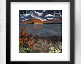 "Art Print, Sunset on Holy Island 10""x10"", Limited Edition Felt Art Print, Northumberland, Fine Art Giclee Print, square art print"