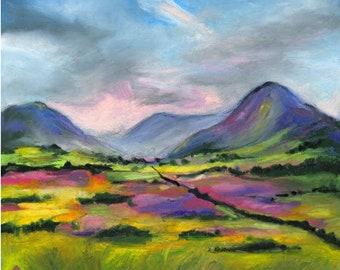 Original Oil Pastel, After The Rain, Connemara, Ireland, original art, oil pastel artwork, wall art, moody art,