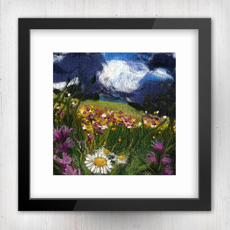 Meadow Flowers on a Stormy Day Limited Edition Felt Art image 0