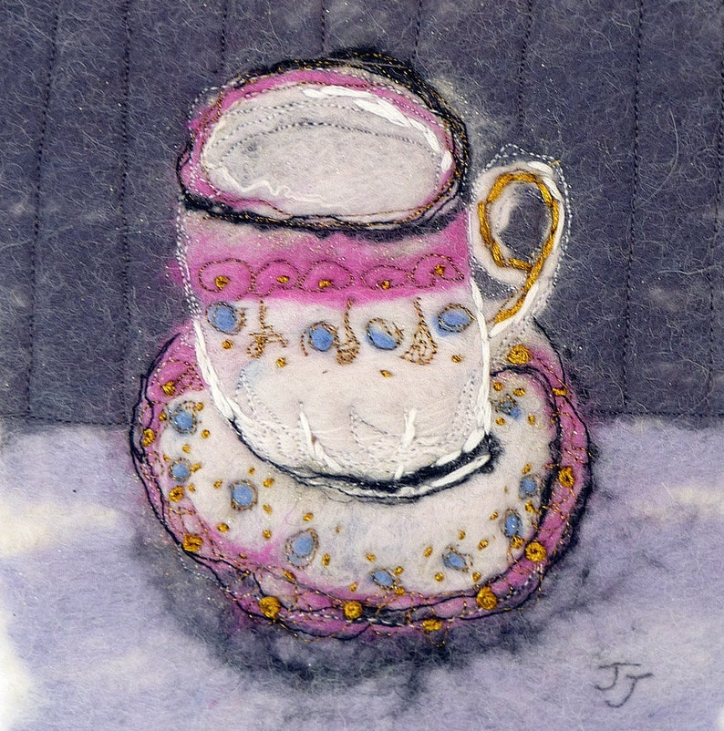 Time for tea original wool painting by fibre artist Janine image 0