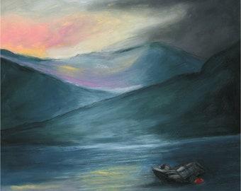 Original Oil Pastel, Silent And Still, Connemara, Ireland, original art, oil pastel artwork, wall art, moody art,