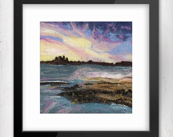 "Art Print, Sunset over Bamburgh Castle 10""x10"", Northumberland, Limited Edition Felt Art Print, Fine Art Giclee Print, square print"