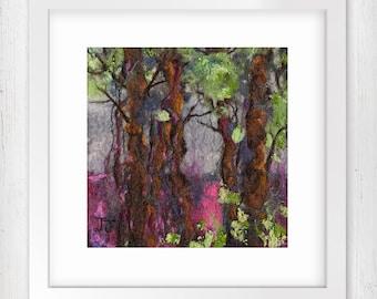 "Art Print, The Gathering 7""x7"", Original Art Print,  Wall Art, Forest scene, Woodland landscape, Art Home Decor, Limited Edition Art Print"