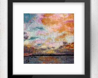 "Art Print, Harbour Sunset, 10""x10"" Art Print, Kinvara, Ireland, Limited Edition Art Giclee Print, square art print, sunset art print"
