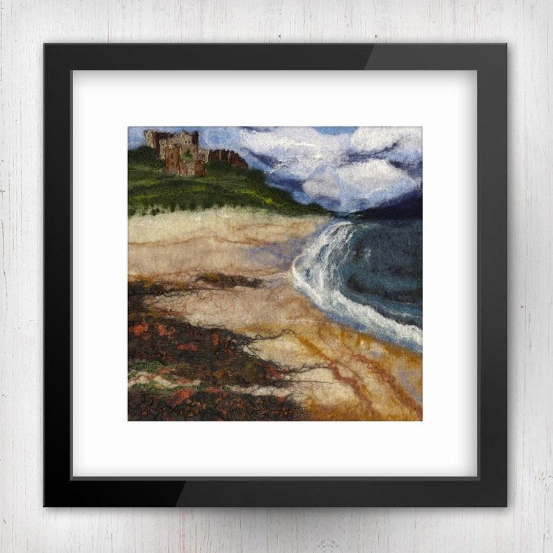 Bamburgh Castle Beach View Limited Edition Felt Art Print image 0