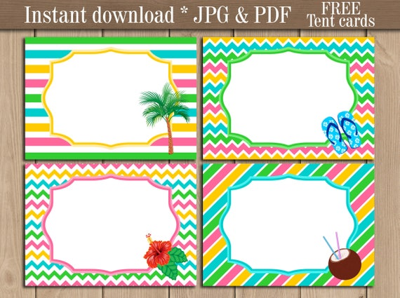 luau tropical party birthday tent labels printable editable etsy