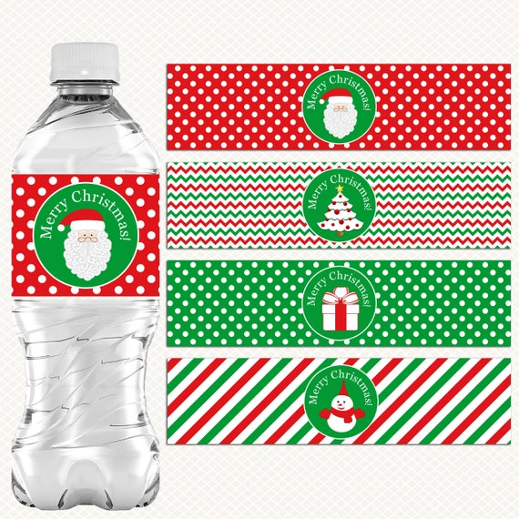 PERSONALISED CHRISTMAS XMAS WATER BOTTLE LABELS FAVOURS GIFTS BAG DECORATIONS