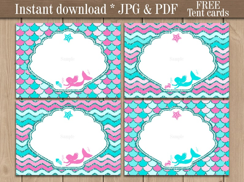 graphic relating to Free Printable Food Labels known as Mermaid Food stuff labels printable. Mermaid Tent playing cards. Buffet Sweet bar labels. Purple Mermaid Birthday Celebration decorations. Instantaneous down load