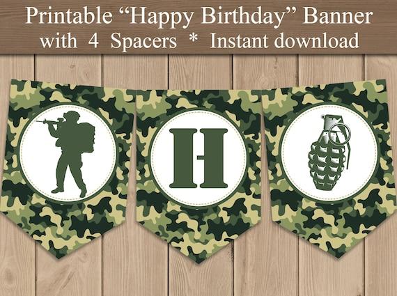 Army Military Camo Theme Birthday Banner