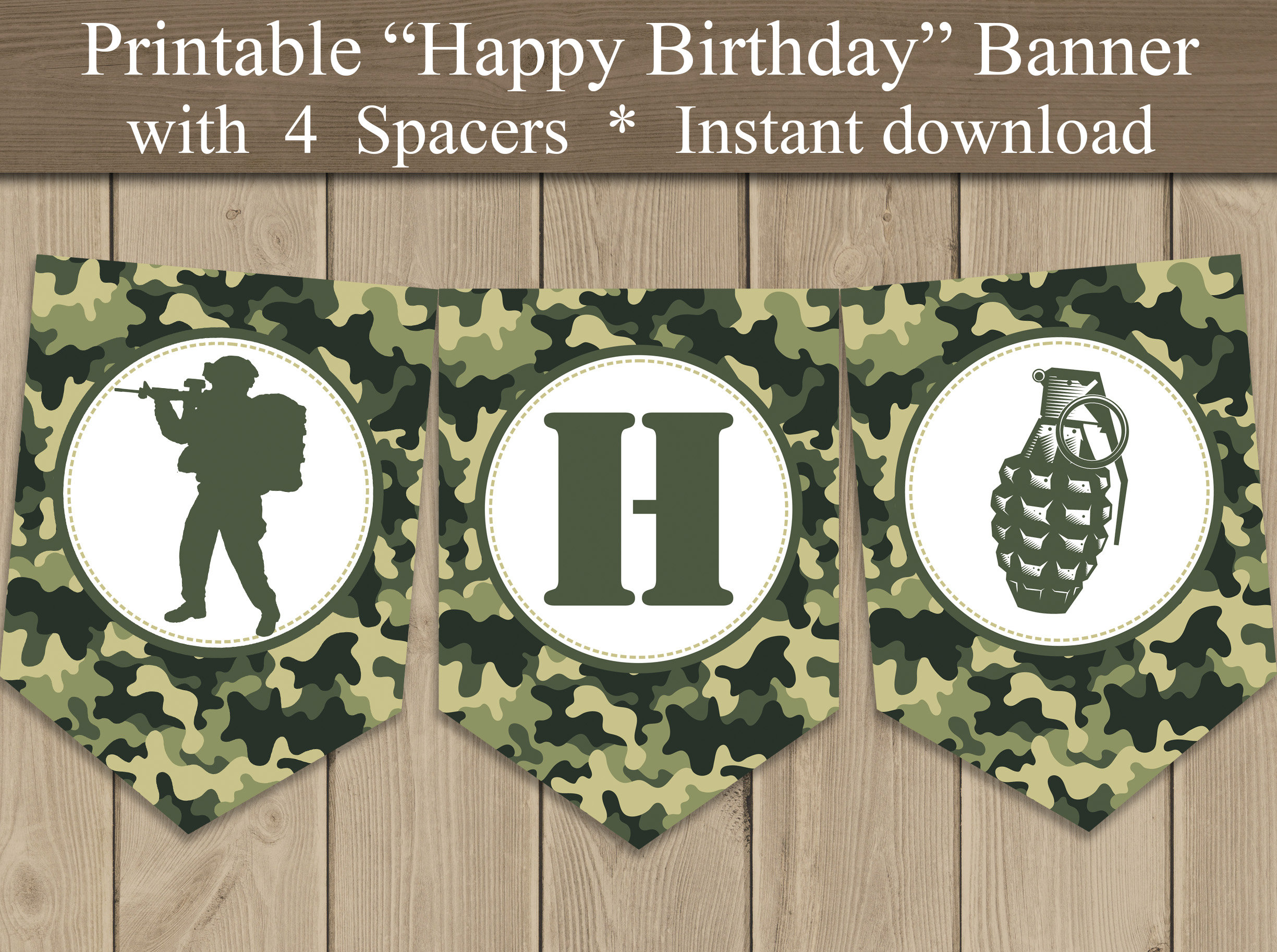 Army Camo Happy Birthday Banner Printable Camouflage Party Etsy