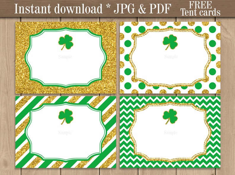 image about St Patrick's Day Cards Free Printable named St. Patricks Working day Foods labels Position playing cards. Shamrock Buffet Sweet bar Blank labels. Saint Patrick Working day Get together printable. Cost-free tent playing cards