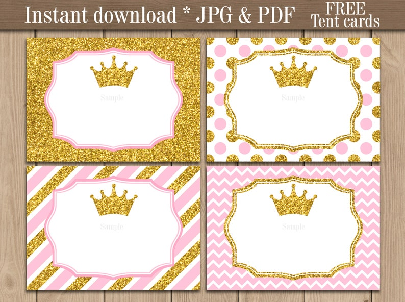 photo about Gold Printable Labels titled Princess Foodstuff Labels printable. Gold Crown Tent playing cards. Red and Gold Youngster Shower Birthday Celebration decorations. Free of charge tent playing cards. Templates pdf