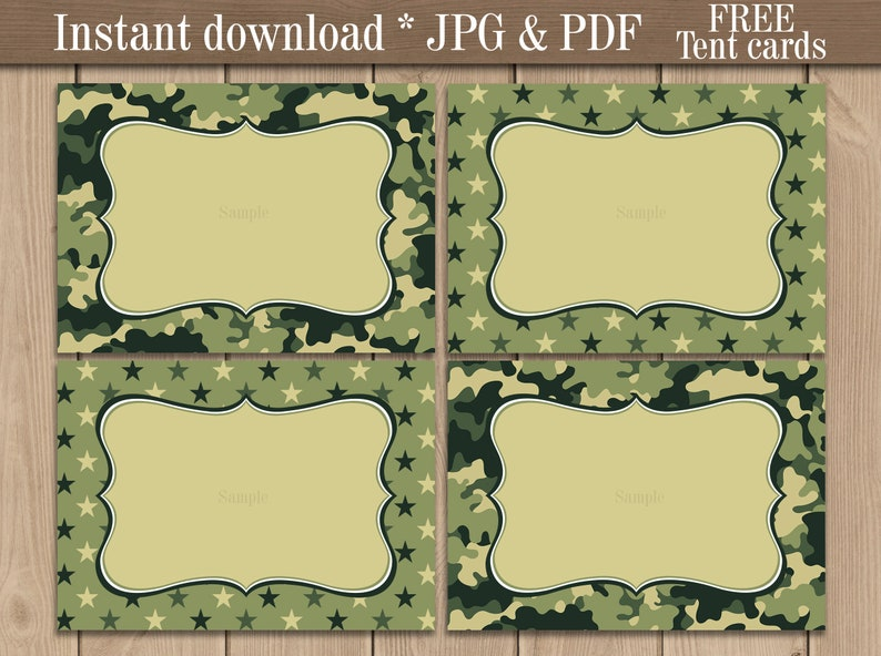 picture regarding Camo Printable called Navy concept Tent Labels printable. Camo Meals Buffet Labels . Camouflage Birthday Occasion Boy or girl shower favors. Cost-free tent playing cards