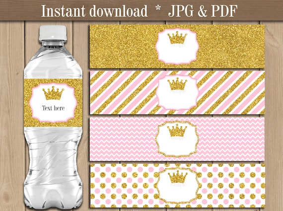 Princess Water bottle Labels. Pink Gold Glitter Crown Baby ...