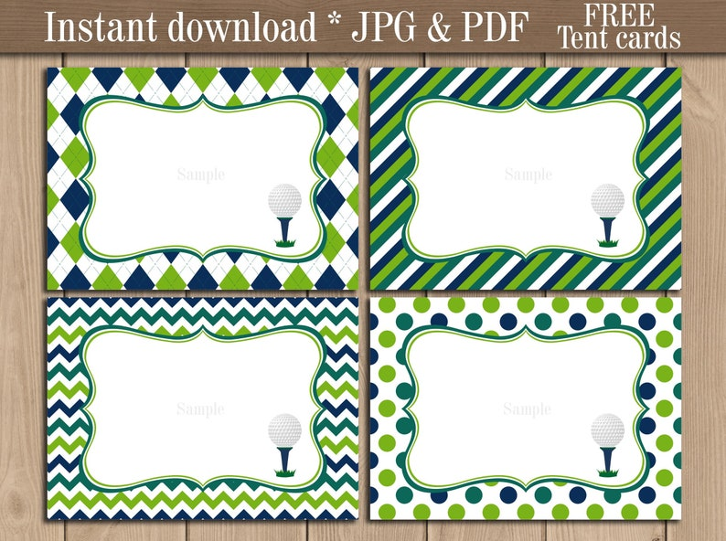 Golf Food Tent Labels Printable Buffet Candy Bar