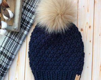 Women's Textured Knit Beanie with Faux Fur Pom - Winter Hat - Toque - READY TO SHIP
