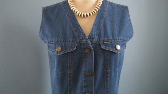 Chambray Denim Sleeveless Dress / Albert Goldberg