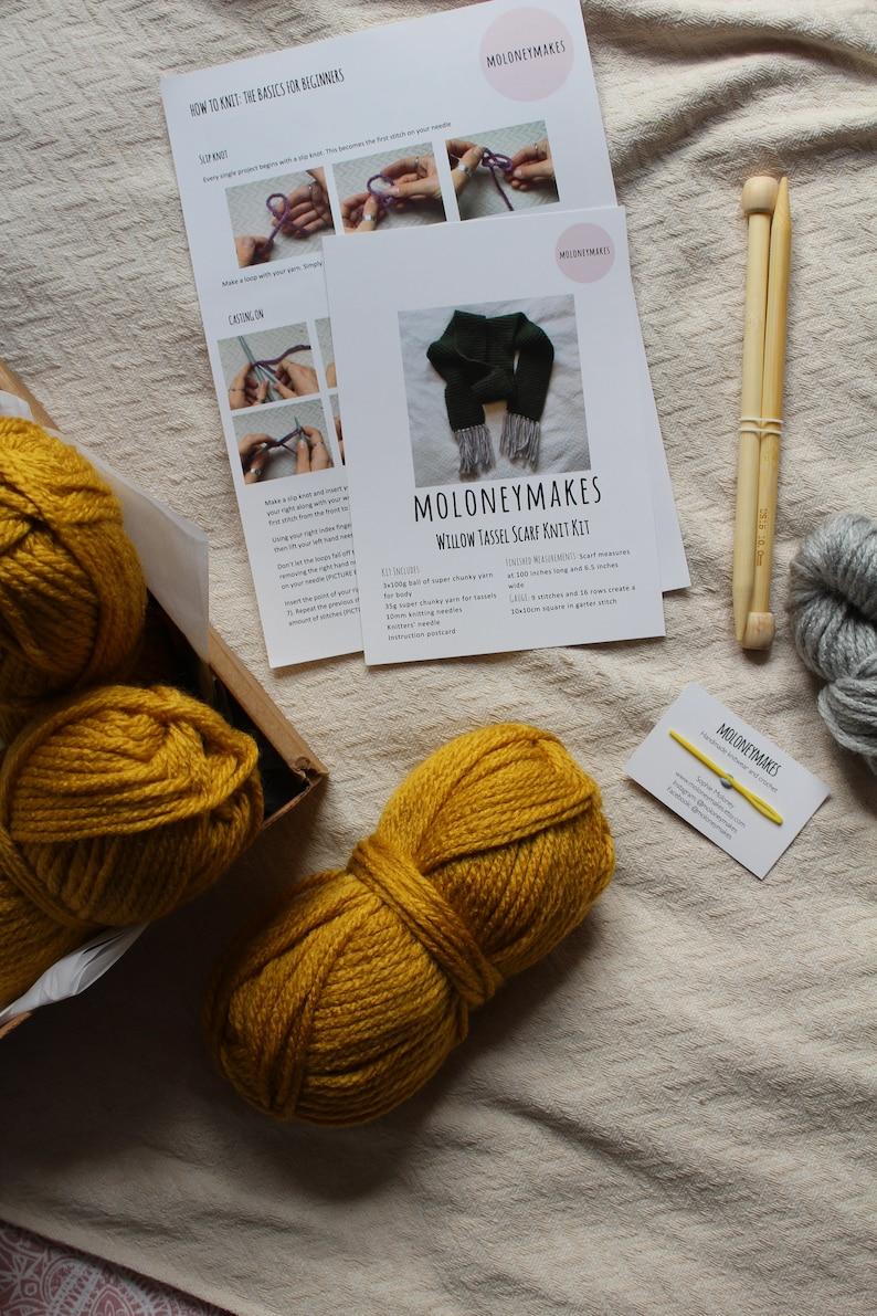 Knitting Kit for Beginners, Super Chunky Tassel Scarf