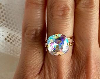 Swarovski Crystal AB Ring Gold Plated Adjustable Swarovski Aurora Borealis 12mm