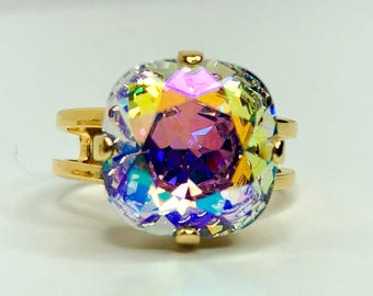 Swarovski Aurora Borealis Crystal Ring Gold Plated Adjustable Size AB Crystal