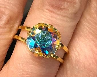 Swarovski Crystal AB Ring Gold Plated Adjustable Swarovski Aurora Borealis 10mm