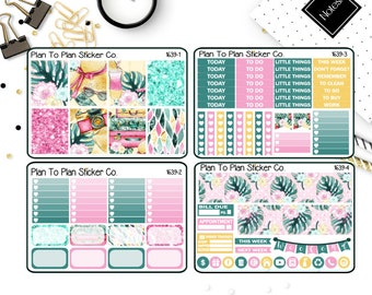 1639~~Tropical Escape 4 PG Weekly Kit Planner Stickers.