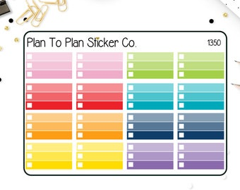 1350~~Ombre Half Box Checklist Planner Stickers.