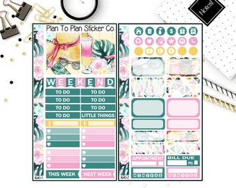 1640~~Tropical Escape Personal Weekly Kit Planner Stickers.