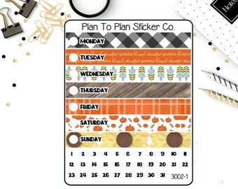 3002~~Rustic Fall A5 Daily Duo Weekly Kit Planner Stickers.