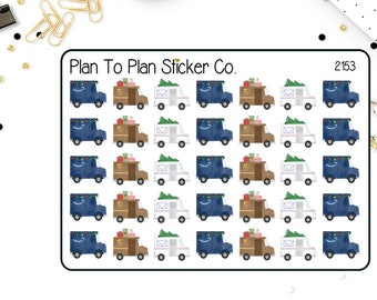 2153~~Christmas Mail Trucks Planner Stickers.