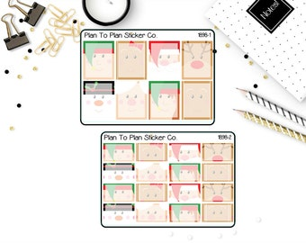 1898~~Christmas Faces Boxes Planner Stickers.
