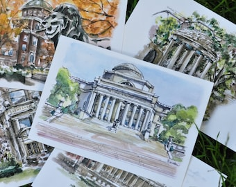 Collection of 5 - Columbia University Watercolor Prints or Postcards